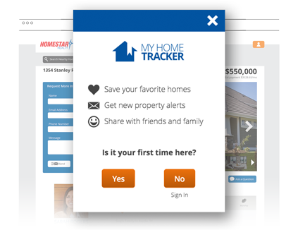 Homes.com uses simple lead capture with social media sign-in to convert website visitors into real estate clients.